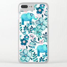 Blush Pink, White and Blue Elephant Clear iPhone Case