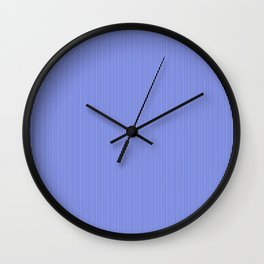 Cobalt Blue and White Vertical Thin Pinstripe Pattern Wall Clock