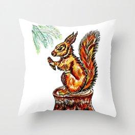 Squirrel watercolor Throw Pillow