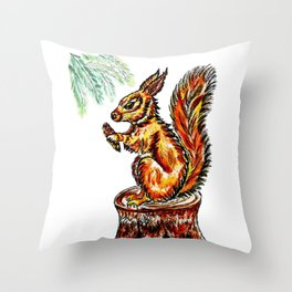 Squirrel watercolor Throw Pillow