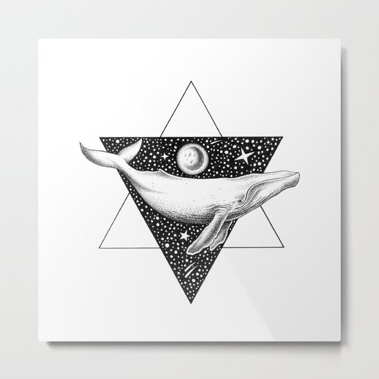 THE WHALE & THE MOON Metal Print