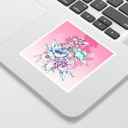 Poppy Bouquet- Pink Sticker