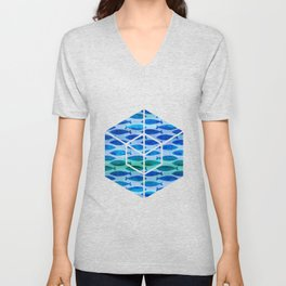 Blue Turquoise Green Watercolor Fish Pattern Unisex V-Neck