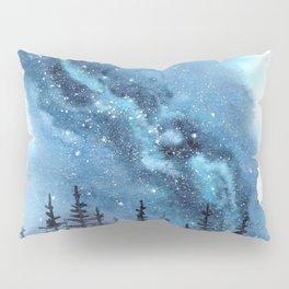 """Adventure Awaits"" watercolor galaxy landscape illustration Pillow Sham"