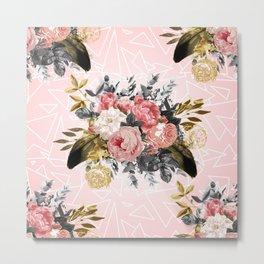 Romantic vintage roses and geometric design Metal Print