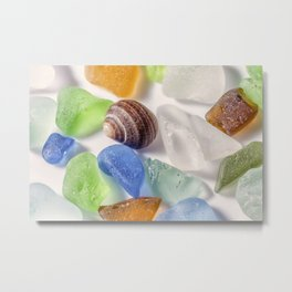 Tiny sea shell and Beach Glass Metal Print