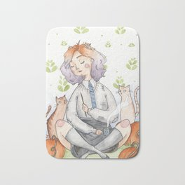 Ombre Watercolor Witch Bath Mat
