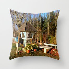 Wayside shrine and a bench   architectural photography Throw Pillow