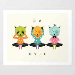 THREE WISE CATS (NO EVIL) Art Print