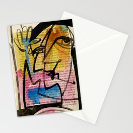 "Funky Face Abstract, ""I See 32"" by Kathy morton Stanion Stationery Cards"