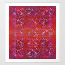 Butterfly Stacks on Red Watercolor Pattern Art Print