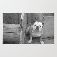 bulldog Area & Throw Rugs featuring Bulldog by Kaleena Kollmeier
