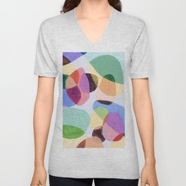 Color Wedge Two 02 abstract oil painting modern art Unisex V-Neck