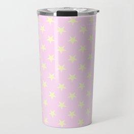 Cream Yellow on Pink Lace Stars Travel Mug