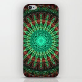 Glowing green mandala with red ring iPhone Skin