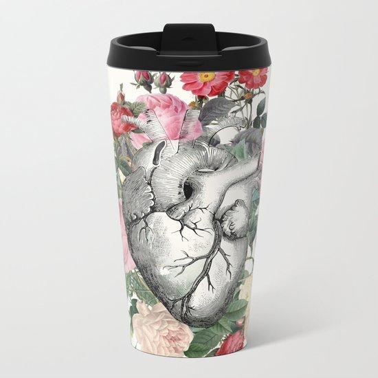 Roses for her Heart Metal Travel Mug