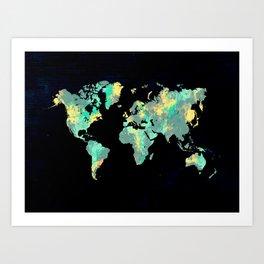 world map 87 green blue Art Print