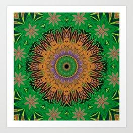 Retro Digital Art Polynesian Psychedelic Fun Floral Art Print