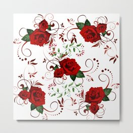 Enchanted Red Rose Abstract Metal Print