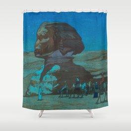 The Sphinx at Night Hiroshi Yoshida Vintage Japanese Woodblock Print Shower Curtain