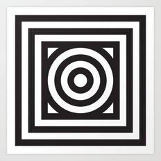 Stripes Circle Square Black & White Art Print