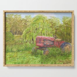 Old Massey Harris 55 tractor in rural France Serving Tray
