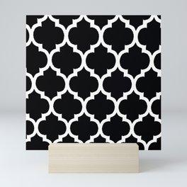 MOROCCAN BLACK AND WHITE PATTERN #2 Mini Art Print