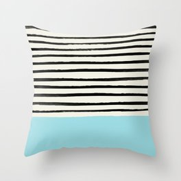 Sky Blue x Stripes Throw Pillow