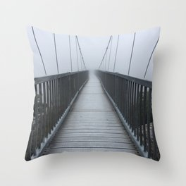 The Swinging Bridge in Fog on a Mountain Throw Pillow