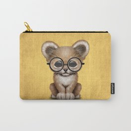 Cute Baby Lion Cub Wearing Glasses on Yellow Carry-All Pouch