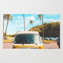 Classic V W Bus at Beach Rug