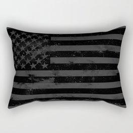 Black American Flag Rectangular Pillow