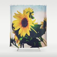 sunflower Shower Curtains featuring sunflower by Sylvia Cook Photography