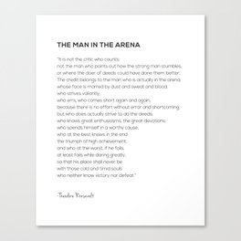 The Man In The Arena Theodore Roosevelt Quote Canvas Print