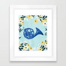 Blue French Horn Framed Art Print
