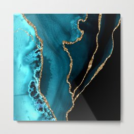 Teal Blue And Gold Glitter Sparkle Veins Agate Metal Print