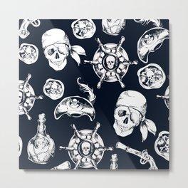 Navy Blue Pirate Pattern Metal Print