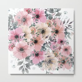Floral Watercolor, Pink and Peach, Abstract Watercolor Print Metal Print
