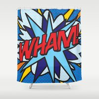 comic book Shower Curtains featuring Comic Book WHAM! by The Image Zone