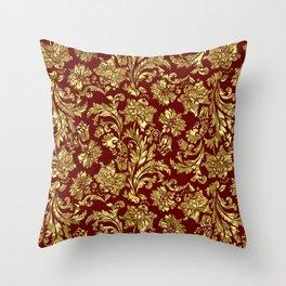 Red & Gold Floral Damasks Pattern Throw Pillow