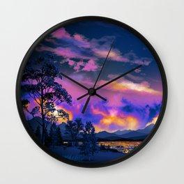 Night Sky Sunset Wall Clock