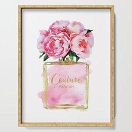 Perfume bottle with flowers, Peony, Peonies, Pink, gold, watercolor, Perfume, Pink, Gold ,Fashion Serving Tray