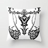 libra Throw Pillows featuring Libra by Mario Sayavedra
