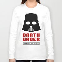 8 bit Long Sleeve T-shirts featuring 8-bit Darth Vader by Sylwia Borkowska