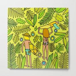 Wander On // Single fin Twin Fin surf art tropical Metal Print