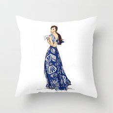 Vintage Hawaiian Print Girl Fashion Illustration  Throw Pillow