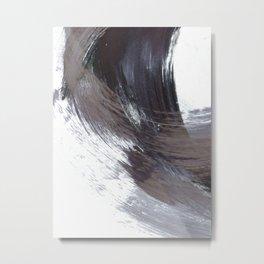Dark Indigo Blue and Grey Gestural Abstract Brushstroke Painting Metal Print