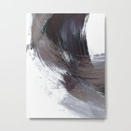 Dark Indigo Blue and Grey Gestural Abstract Brushstroke Painting Metal Print