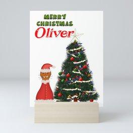 Oliver Dressed as Santa by His Christmas Tree Mini Art Print