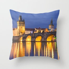 The Charles Bridge in Prague, Czech Republic at night Throw Pillow